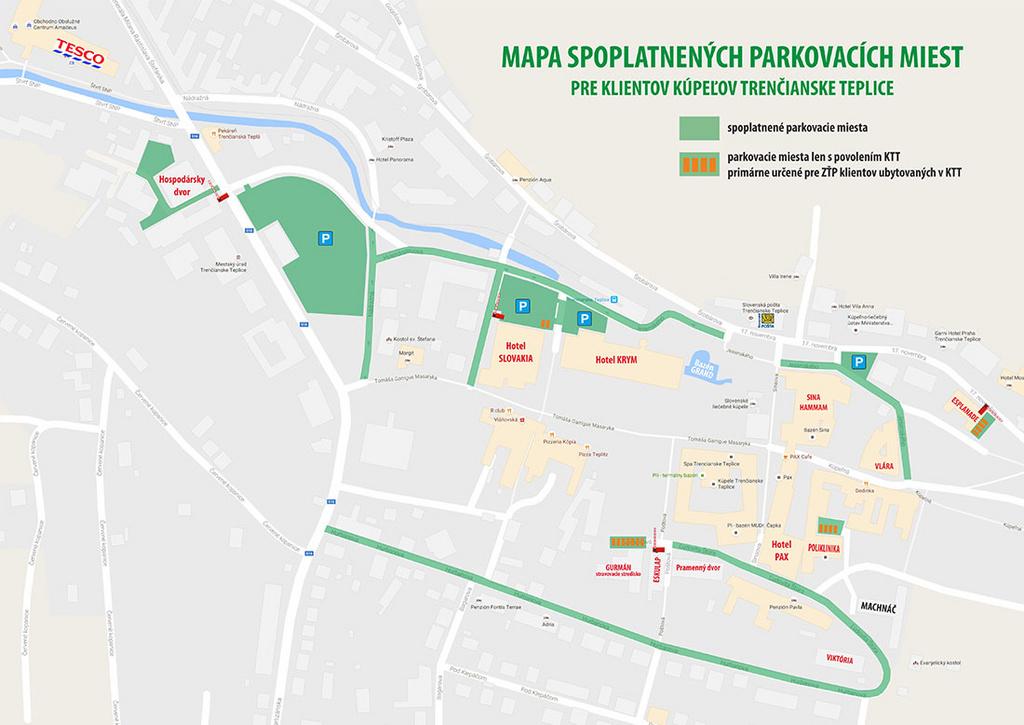 Mapa parkovacích miest pre hostí