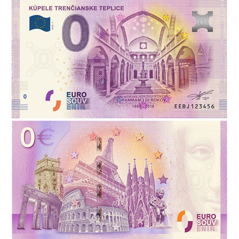 Historický Hammam na nulovej eurobankovke